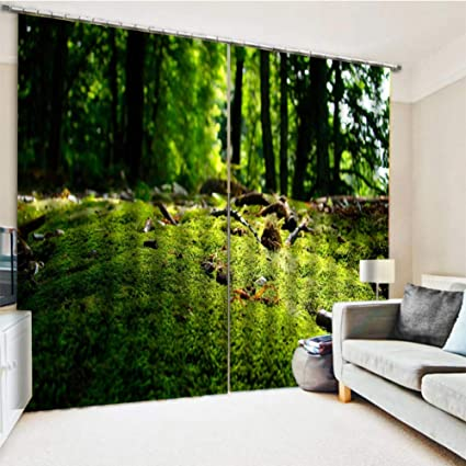 KRWHTS Curtains Farm House Decor Curtain Pathway In A Shady Forest Of Bushes And Thick Trunks