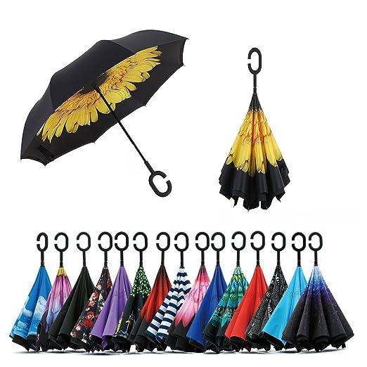 1 opinioni per Jooayou Doppio strato invertito ombrello, Manico a forma di C Ombrello