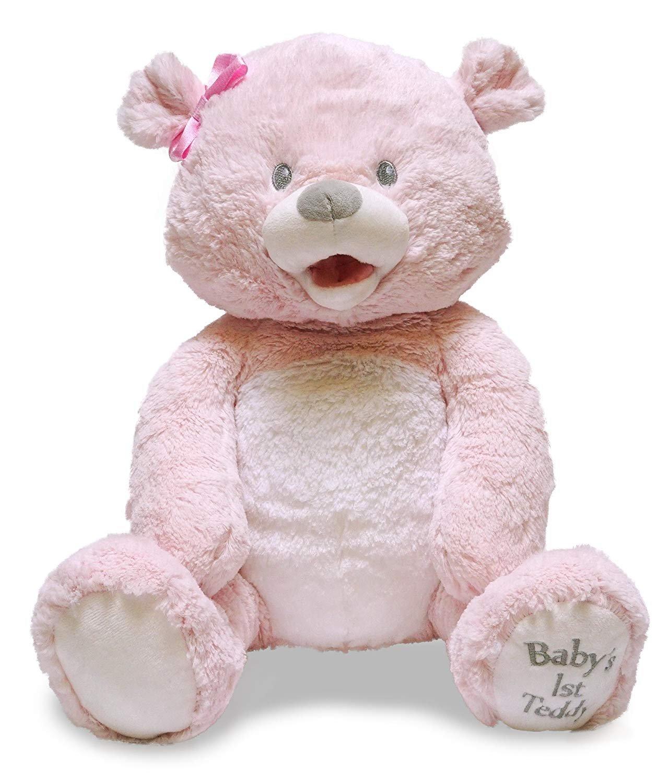 Cuddle Barn Baby's 1st Singin Teddie 15'' Teddy Bear Sings You Are My Sunshine (Pink) by Cuddle Barn