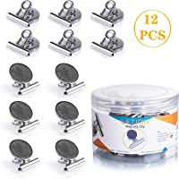 UTTORA Fridge Magnets,Refrigerator Magnetic Clips, High Magnetic Scratch-prof whiteboard Magnets 1.5 inch for Note Photo Receipt Detailed List display Paper Fasteners on Home& Office& Teaching (12Pcs)