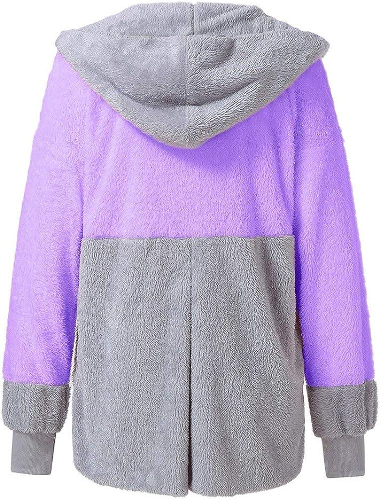 Leaf2you Womens Winter Warm Fleece Sweatshirt Cartoon Cat Print Oversized Hooded Pockets Pullover Sweater Coat