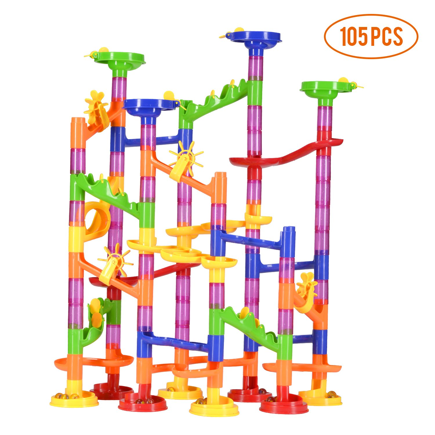 Vamslove Marble Run Sets, 105 Pieces Marble STEM Games Construction Building Blocks Marble Run Learning Educational Kids Toys for Age 4 5 6 7 + Year Old Boys Girls Birthday