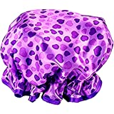 Waterproof Women Shower Caps Bath Cap VANORIG Cute Double Layer Satin Lined Shower Cap for Women ,Pack of 1 (Purple Heart)