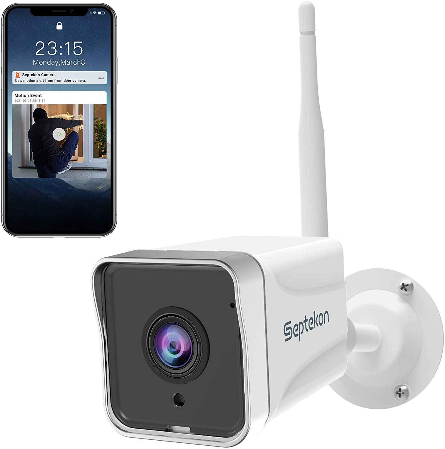 [2021 Upgraded] Security Camera Outdoor, Septekon 1080P WiFi Home Surveillance Camera, IP66 Waterproof FHD Night Vision Cameras with Motion Detection, 2-Way Audio, Cloud Storage, Work with Alexa - S50