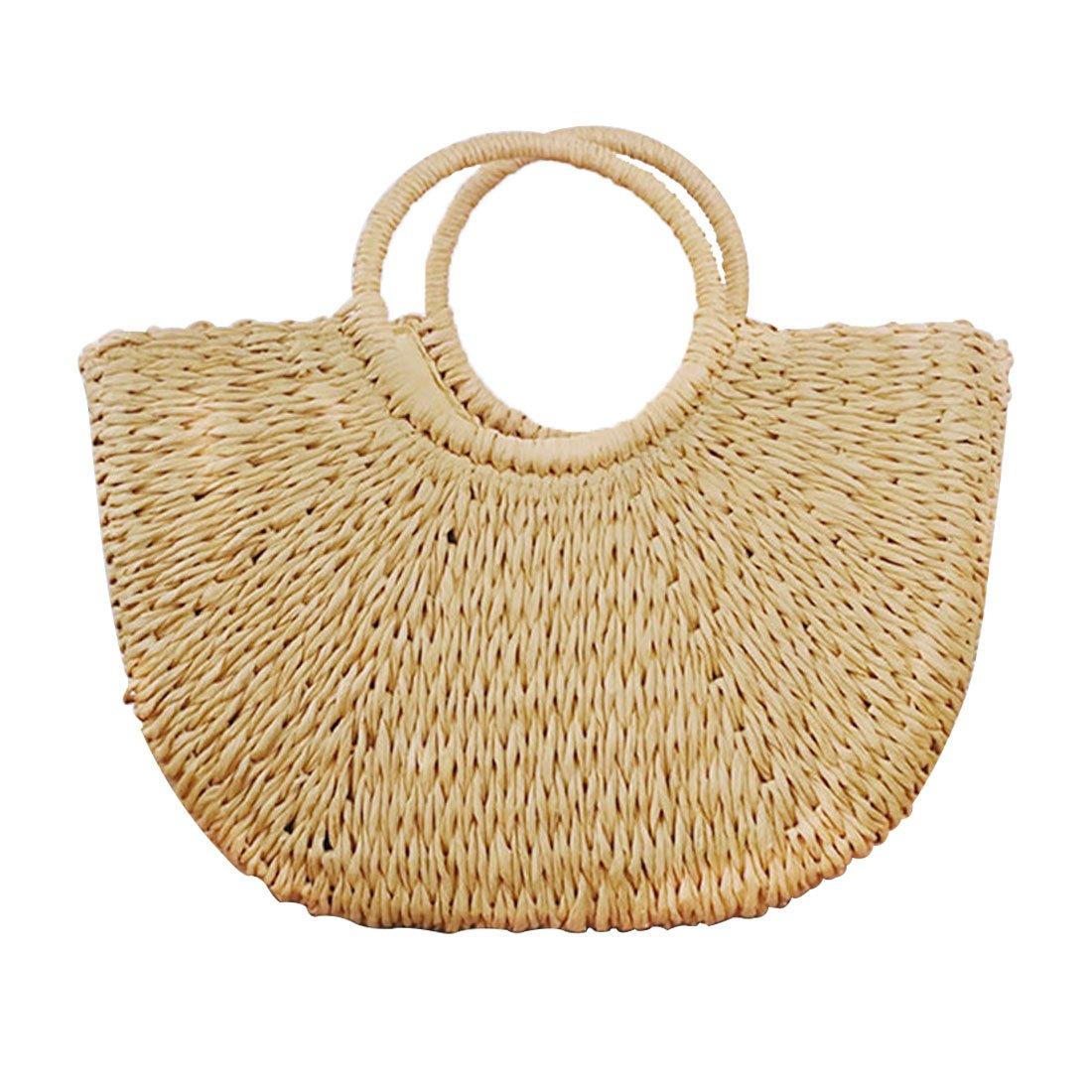 Hand-woven Straw Large Hobo Bag for Women Round Handle Ring Toto Retro Summer Beach (Khaki)
