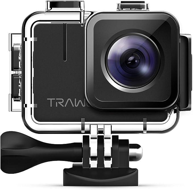 APEMAN Caméra Sport A100, Native 4K/50fps 20MP WiFi Appareil Photo Caméscope Étanche 40M (Stabilisateur Vidéo/Image extrême, Batteries améliorées 2x1350mAh)