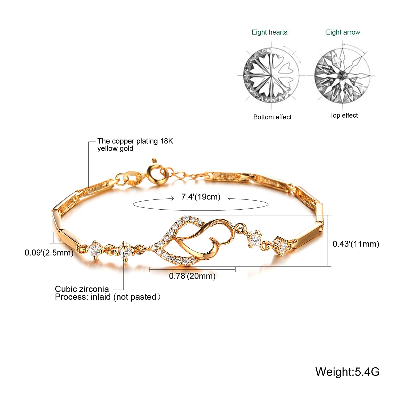Adjustable Chain Teniu 24k Gold Plated Heart Bracelet for Women Girls Charm Bracelet Gold Jewelry Bracelet