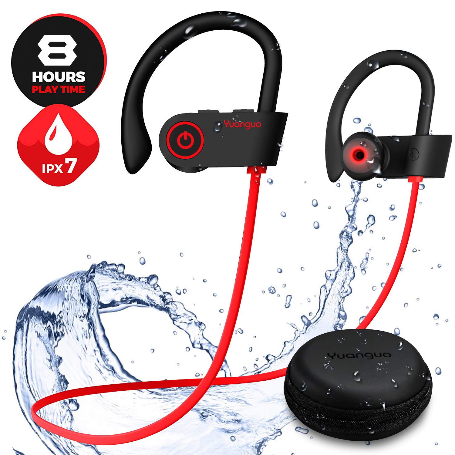 Designed for Sport Y2 Bluetooth Headphones, Wireless Headphones Earbuds with Mic, HD Stereo Upgraded Fitter Waterproof Sport Workout Running Wireless Bluetooth Earbuds Earphones for Android iPhone