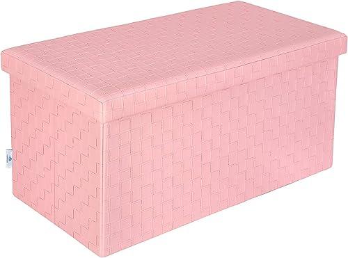 B FSOBEIIALEO Folding Storage Ottoman, Faux Leather Footrest Stool Long Bench, Pink 30 x15 x15