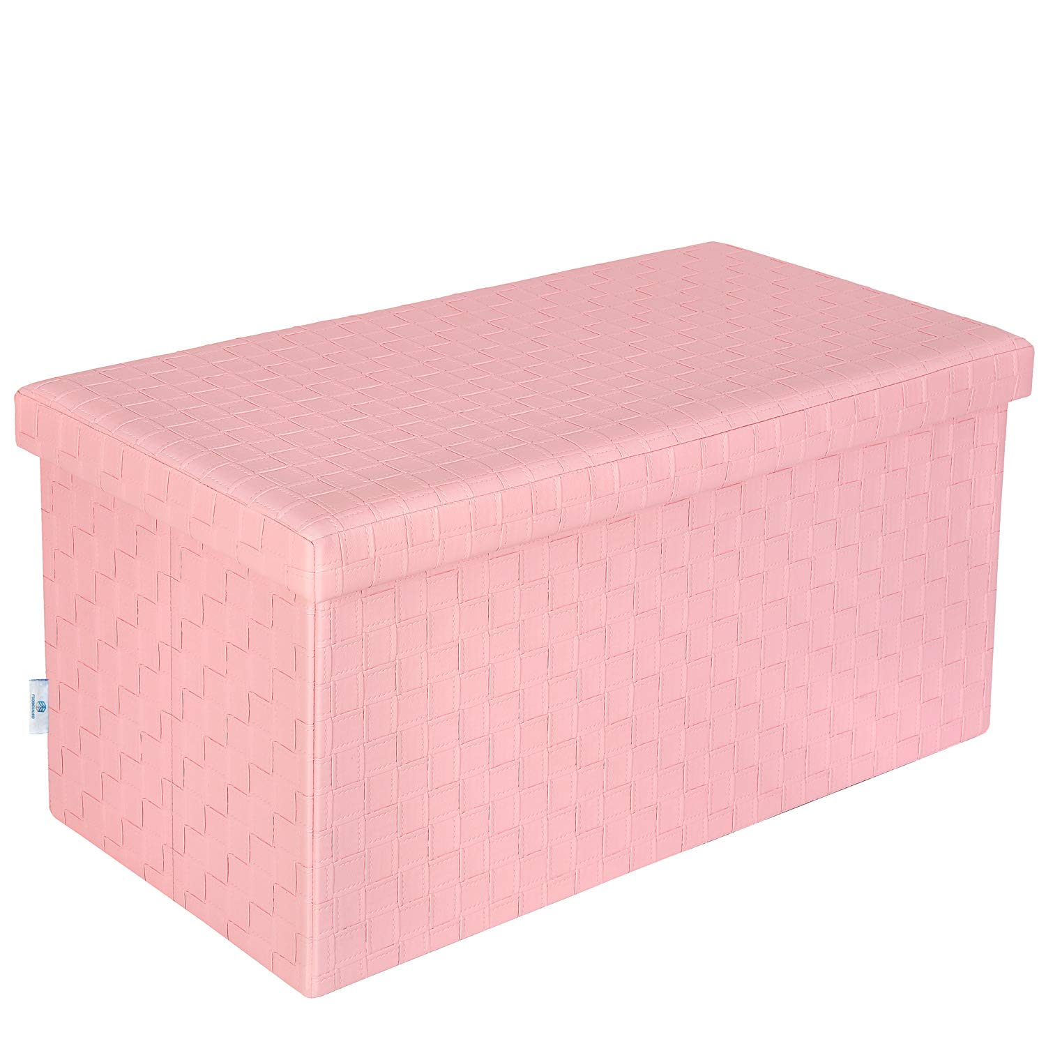 B FSOBEIIALEO Folding Storage Ottoman, Faux Leather Footrest Stool Long Bench, Pink 30''x15''x15'' by B FSOBEIIALEO