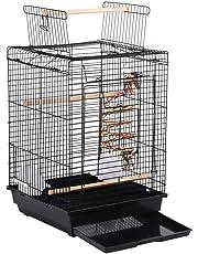 Yaheetech Vogelvoliere für Kanarien Finken, Wellensittichkäfig schwarz, Vogelkäfig Vogelhaus mit Spielzeug Klettern