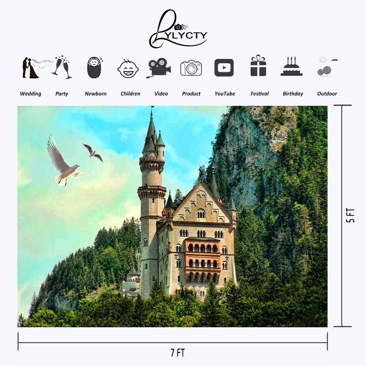 LYLYCTY 7/×5ft Natural Landscape Backdrop Birthday Party Pigeon Photography Background for Baby Girl Shower Party Decor Banner Photo Booth Studio Props LYLS134