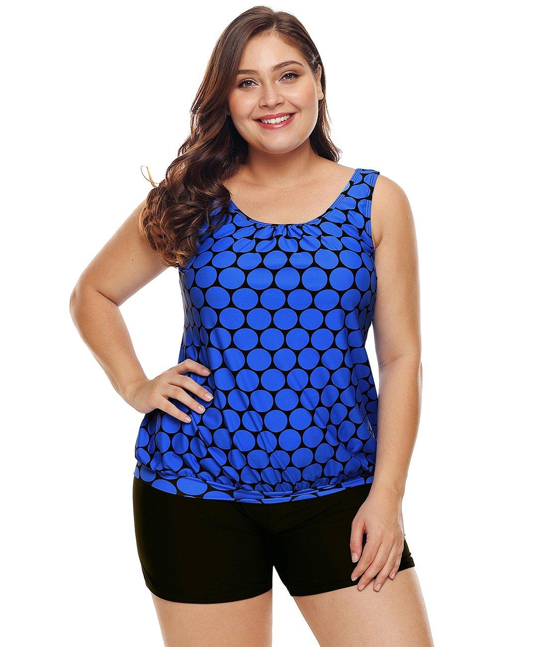 Lalagen Womens Plus Size Racerback Tankini Set Two Piece Swimwear with Boyshort Blue XXXL