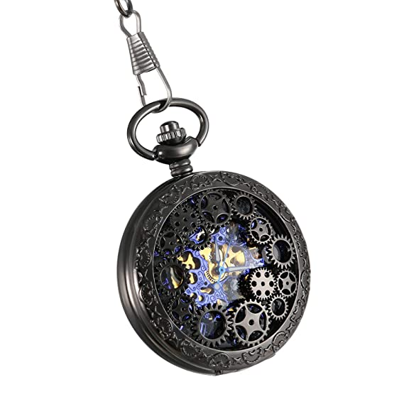 5c479a35de96 Lancardo Reloj de Bolsillo Mecánico de Cuerda Manual Cubierta Forma de  Engranajes Collar de Suéter Retro
