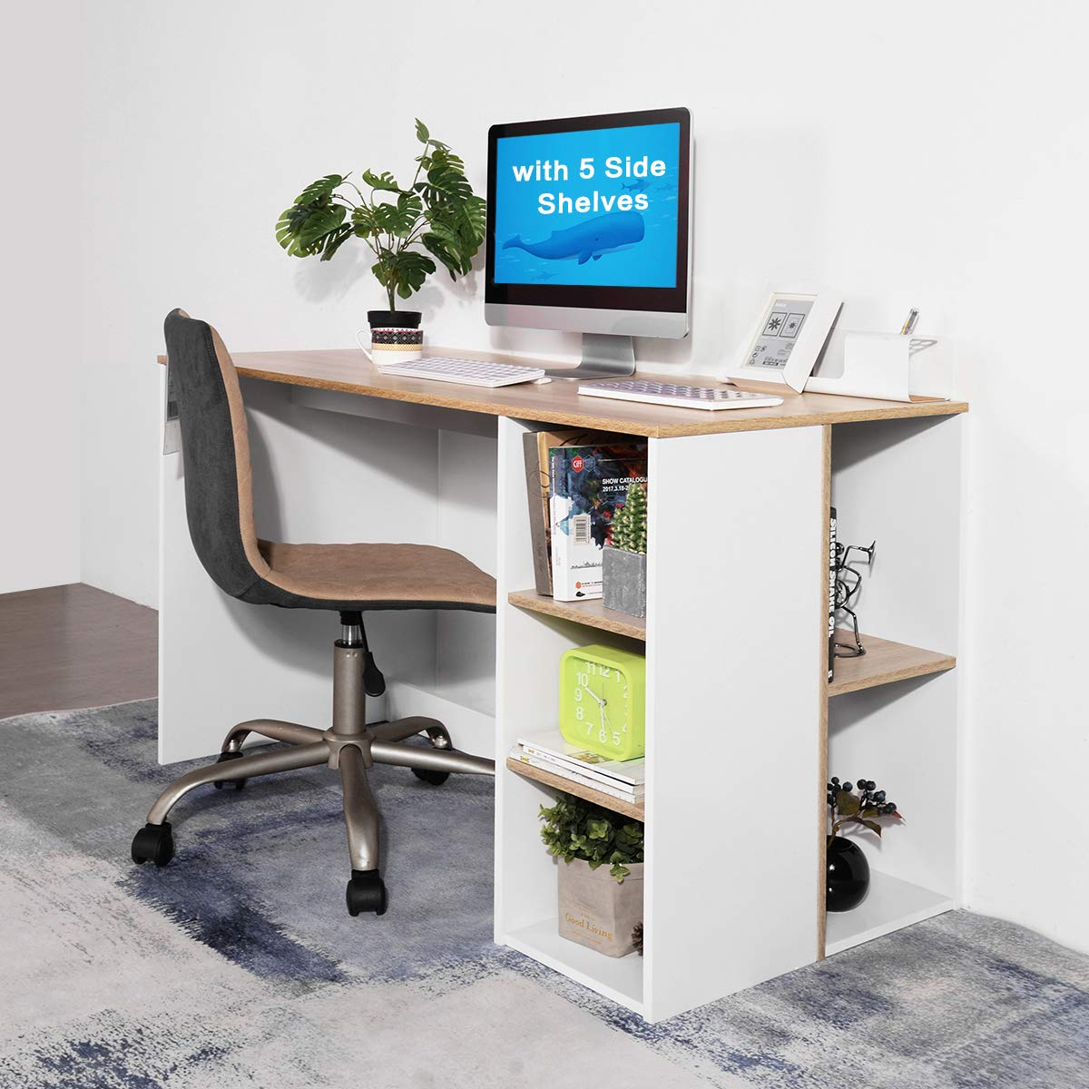 Coavas Office-Computer Desk with Storage, Study-Work Desk with 5 Shelves, Students-Writing Desk Home Laptop Study Table Modern Wood Hutch Large Workstation with Bookcase BREN11 /Beech and White by Coavas (Image #6)