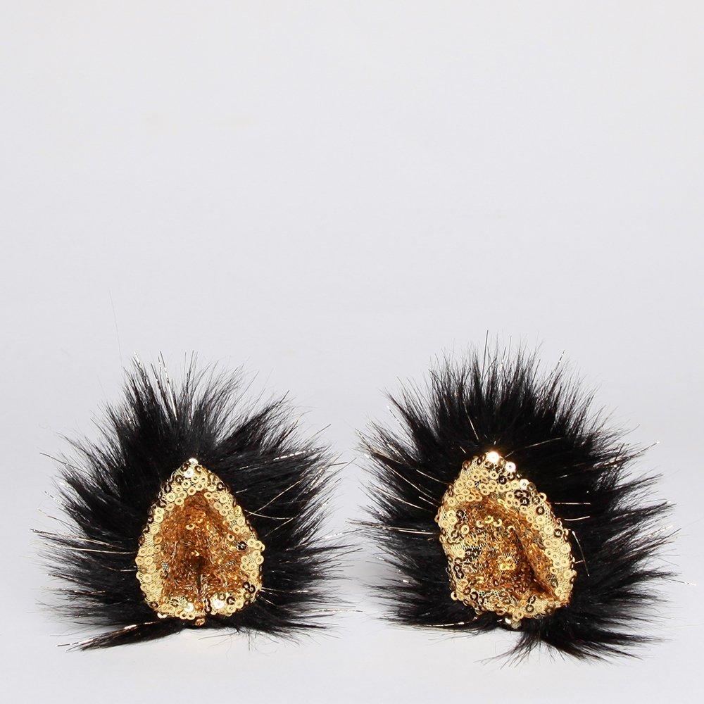 KritterKlips Official - Black and Gold Clip On Animal Ears