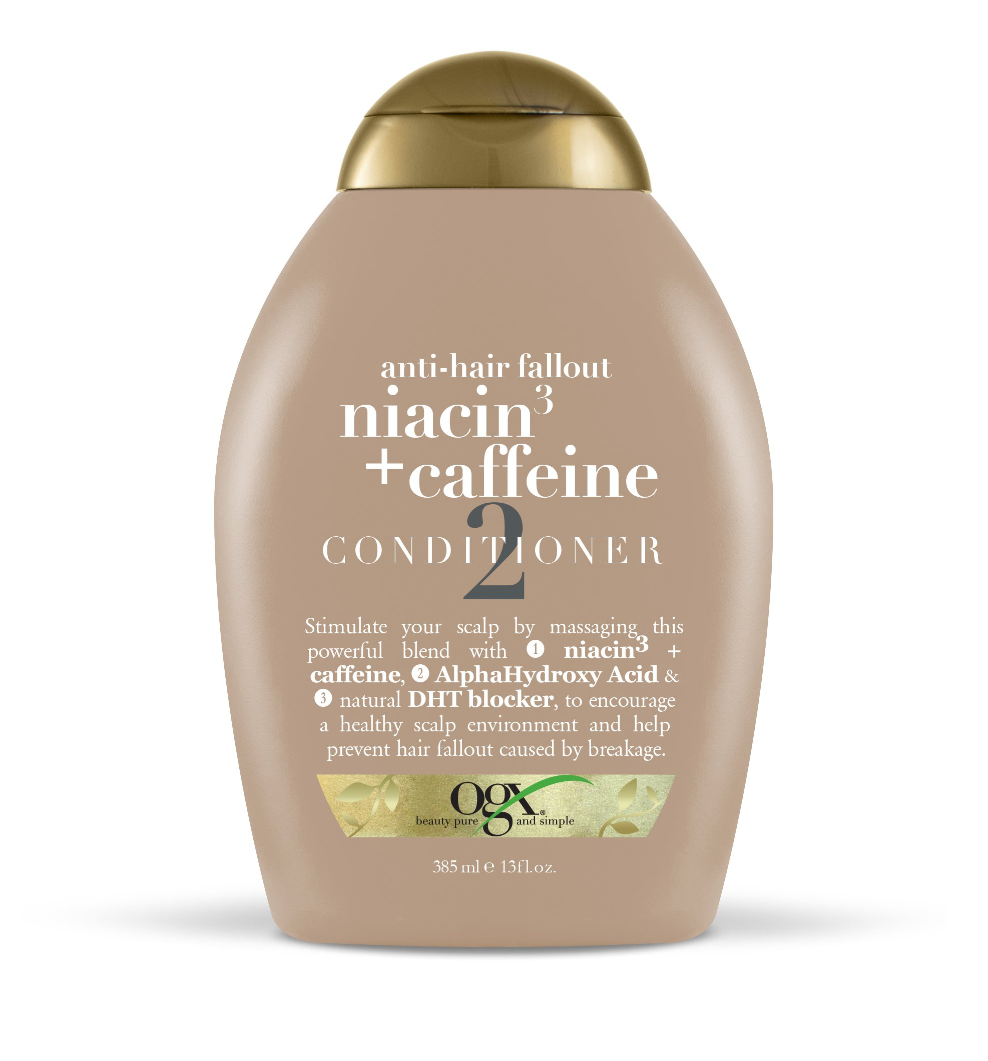 OGX Conditioner Anti-Hair Fallout Niacin + Caffeine Conditioner 13oz, Simulate Your Scalp; Massage This Powerful Blend with Natural DHT Blockers; Encourage Healthy Scalp Environment