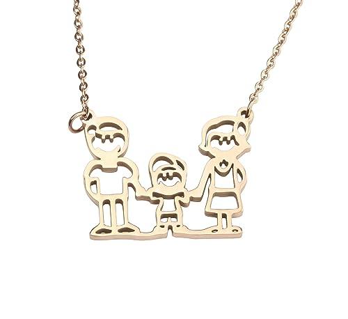 Fashion joyería familia cálida Padre Madre niños colgante collar con caja de regalo y bolsa de regalo de terciopelo: Amazon.es: Joyería