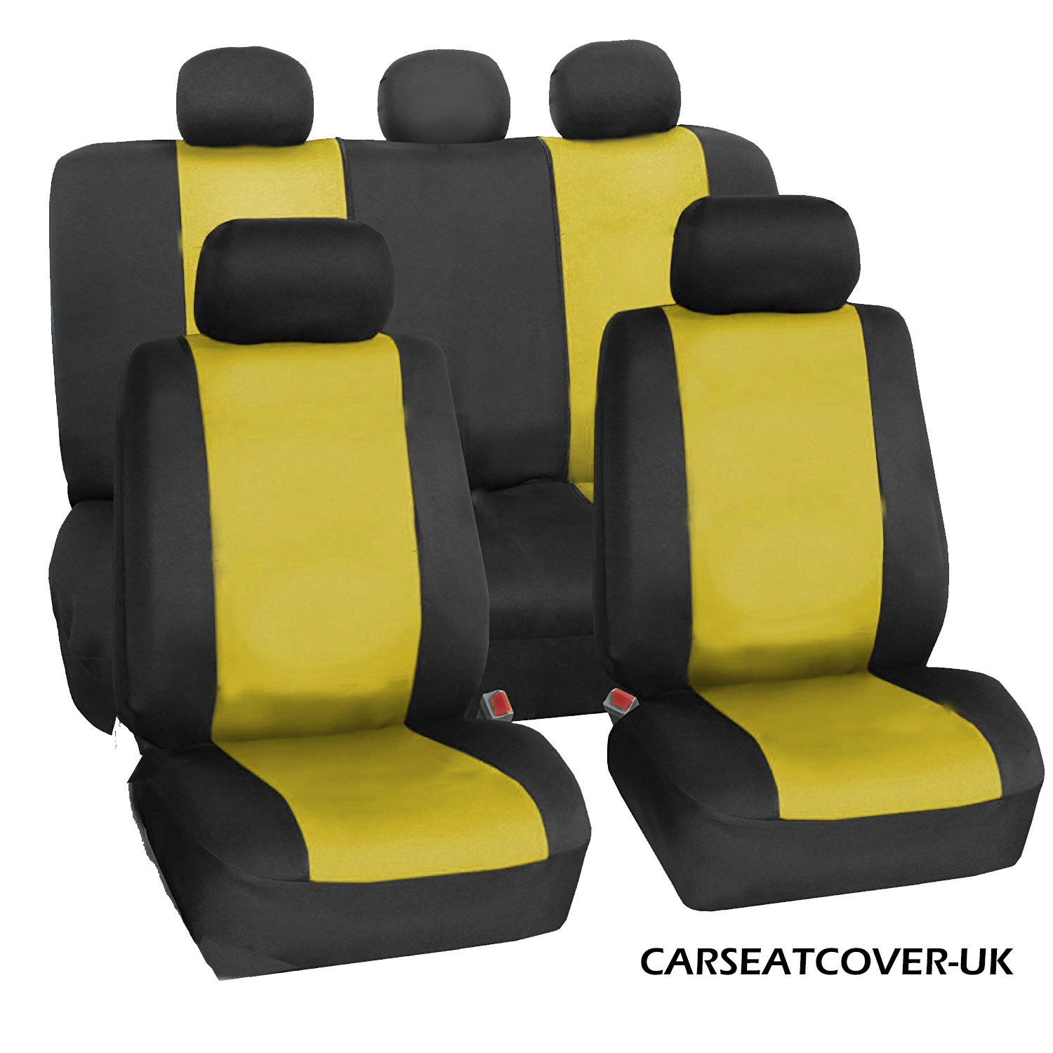 LEATHERETTE Airbag Friendly Front & Rear FULL SET of Car Seat Covers YELLOW & BLACK Carseatcover-uk