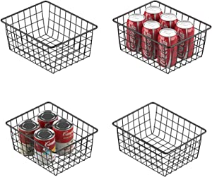 Wire Storage Basket, Veckle 4 Pack Metal Wire Baskets for Storage Pantry Organizer Storage Bin Baskets with Handles for Kitchen Cabinets, Pantry, Bathroom, Countertop, Closets, Black