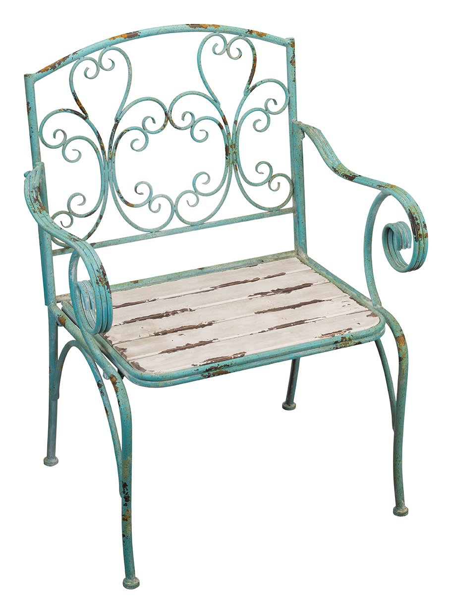 "Regal Art & Gift Fleur De Lis 26.75 inches x 21.75 inches x 36.5 inches Metal Wood Chair - Outdoor Living Chair - Size: 26.75""X21.75""X36.5"" Material: Metal/Wood Handcrafted - patio-furniture, patio-chairs, patio - 71J4i9Io ML -"