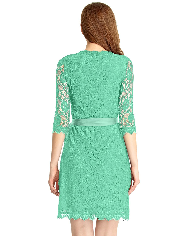 Amazon.com: Grapent Women\'s Lace 3/4 Sleeves Midi Business Cocktail ...