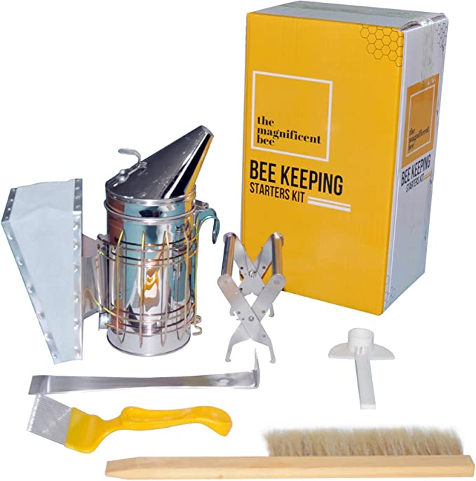 BigBig Style 7 in 1 Beekeeping Supplies Kits Durable Beekeeping Honey Extraction Tool Kit Bee Brush Uncapping Fork Beekeeper Tools