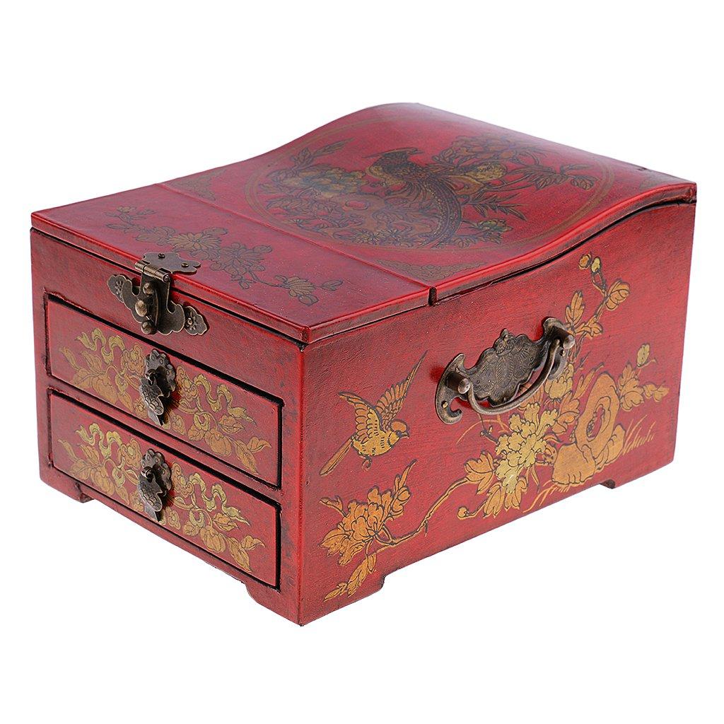 Baoblaze Vintage Jewelry Box Case Wooden Makeup Dresser Chest Cabinet Keepsake Home Decoration - Red, as described by Baoblaze (Image #1)