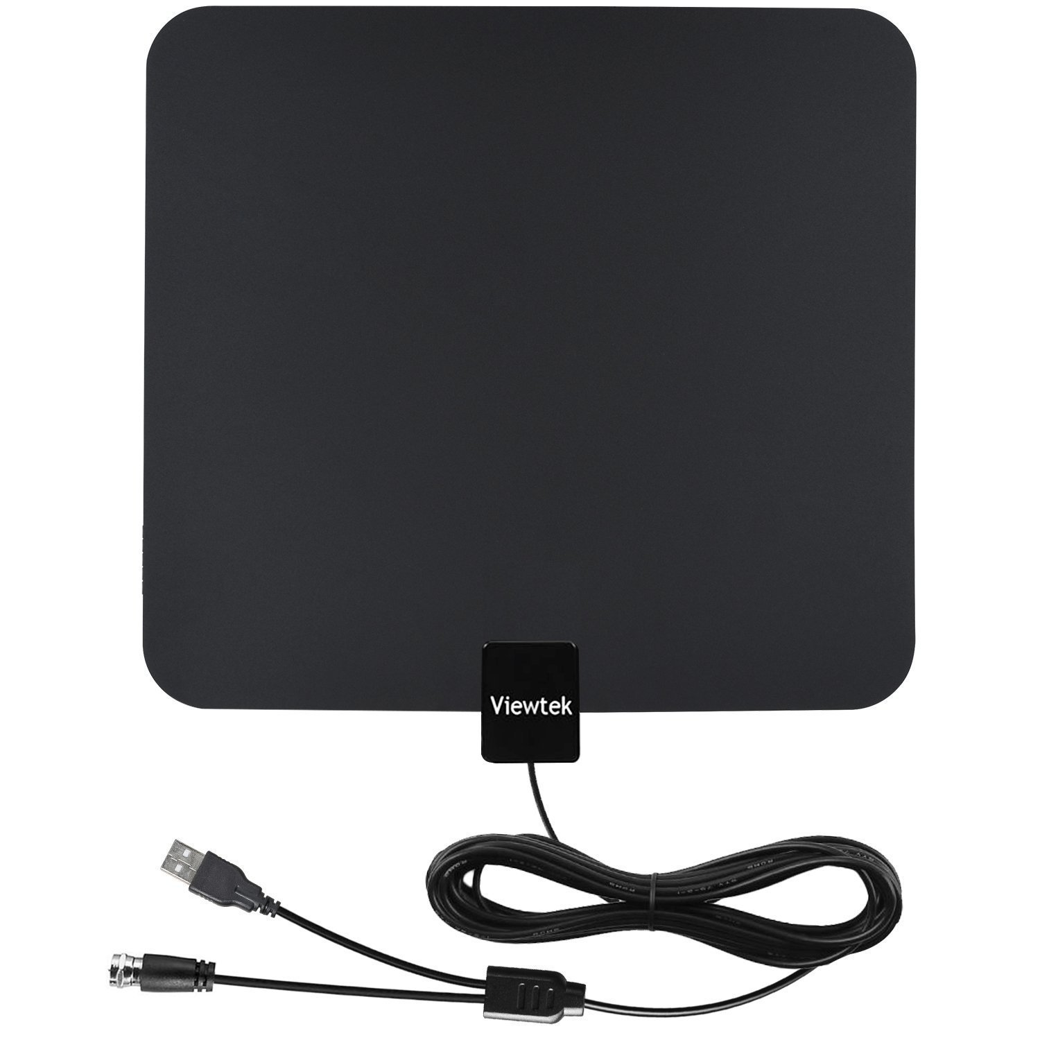 HDTV Antenna- VIEWTEK Amplified Digital Indoor TV Antenna 50 Mile Range with Amplifier, 13 Ft Copper Coaxial Cable with USB Power Supply