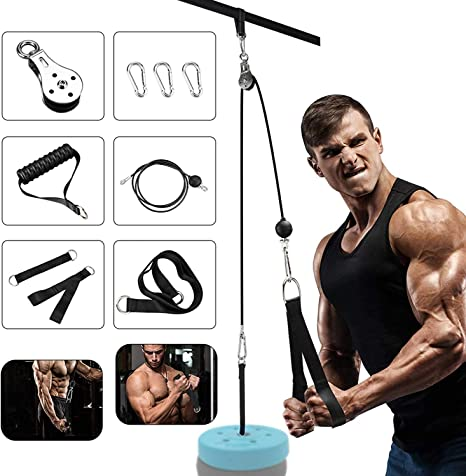 Elikliv DIY Pulley Cable Machine Attachment System Length Adjustable Sets with Loading Pin Triceps Strap Home Gym Equipment Workout Accessories
