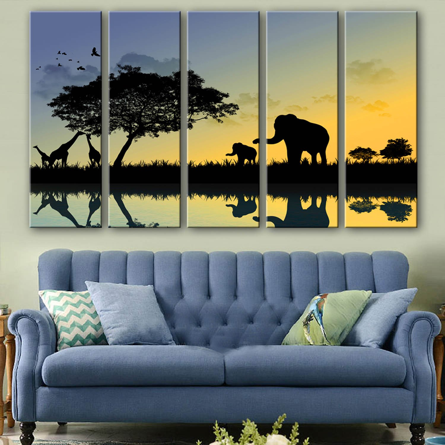 NIKUD-Set of 5 Stretched Frame Canvas Prints Wall Decoration Home Decor Living Rooms Offices Bedrooms Sunset Animals Decorative Printing Painting,30cm90cm5Panels,#FP1319 by NIKUD ART