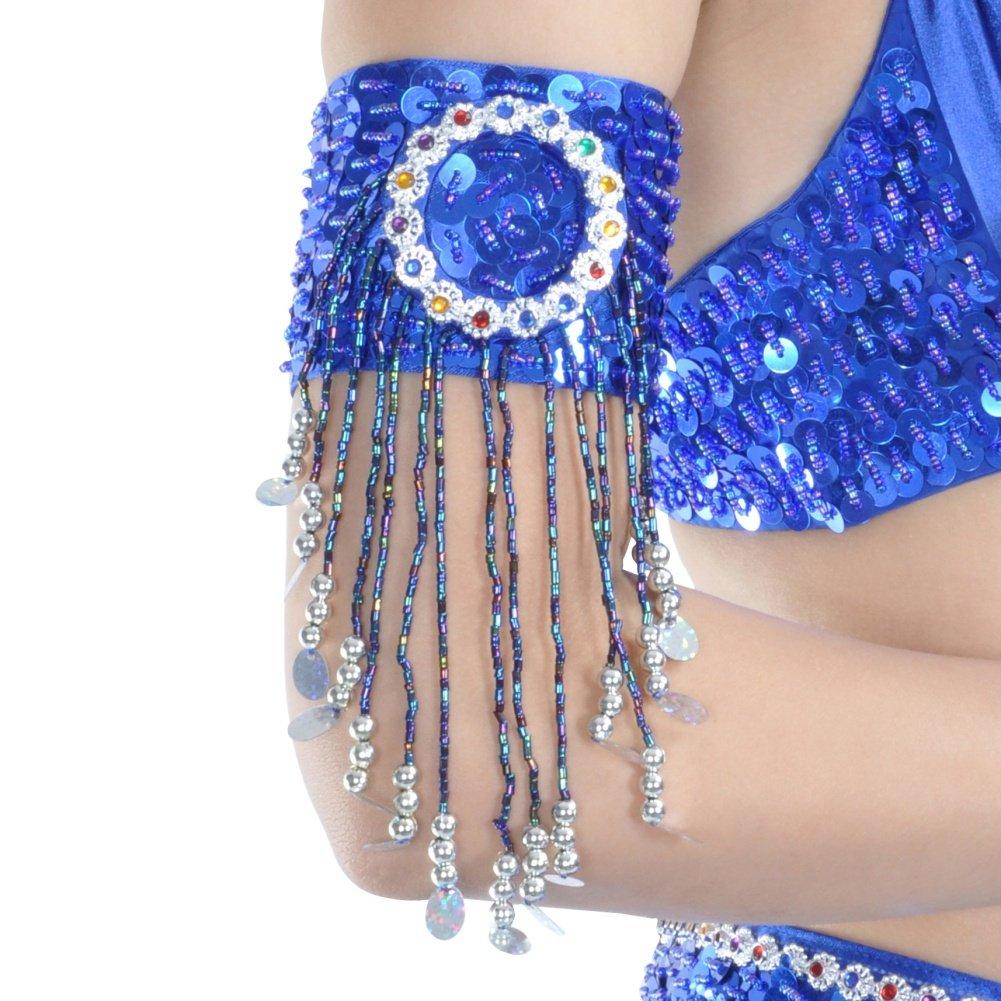 Belly DANCE mano Catena Bracciale Mano gioielli bracciali dorati monete Bianco Nuovo