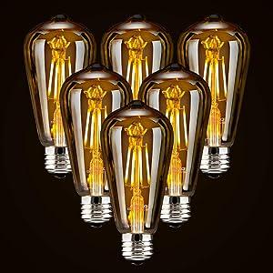 LED Dimmable Edison Light Bulbs 4W Vintage Light Bulb, 2200K-2400K Warm White (Amber Glass), Antique Style LED Edison Bulbs, Squarrel Cage Filament,ST64, E26 LED Bulb Base (4W- 6 Pack)