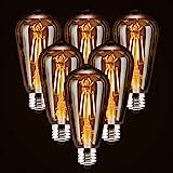 6-Pack LED Dimmable Edison Light Bulbs 40W Equivalent Vintage Light Bulb, 2200K-2400K Warm White (Amber Glass), Antique LED E
