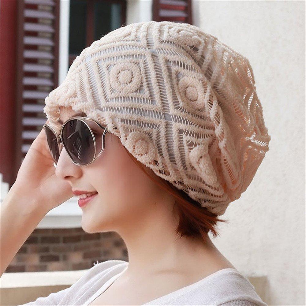 El sombrero de la mujer, la participación de la mujer en la primavera y el otoño, encajes abajo bufanda pac, Baotou calva, gran código hat, aire acondicionado tapa, colocar la tapa, 55-62cm elastic,F (55-62cm),Elástica Beige