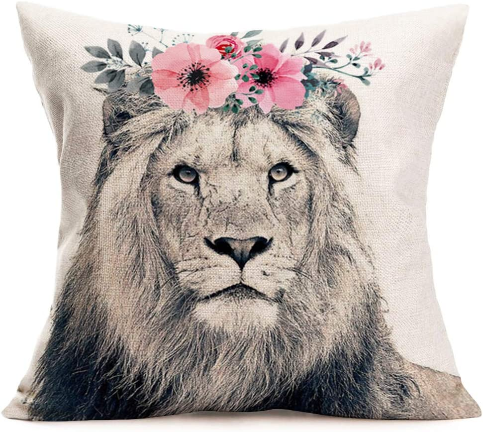 Amazon Com Asamour Lion Throw Pillow Covers Adorable Animal With Beautiful Flower Wreath Cotton Linen Farmhouse Decorative Cushion Cover 18 X18 Square Accent Pillow Cases For Sofa Couch Lion Home Kitchen