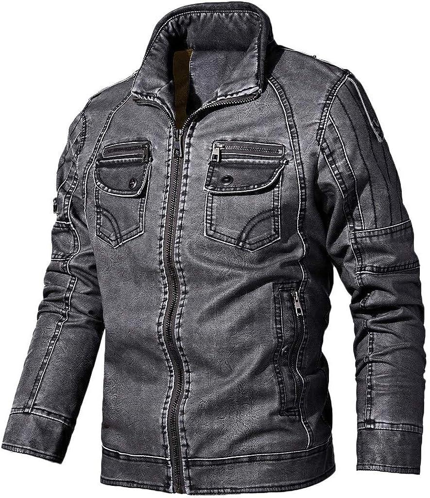 HomeMals Mens Retro Cafe Racer Vintage Distressed Motorcycle Black Leather Biker Jacket