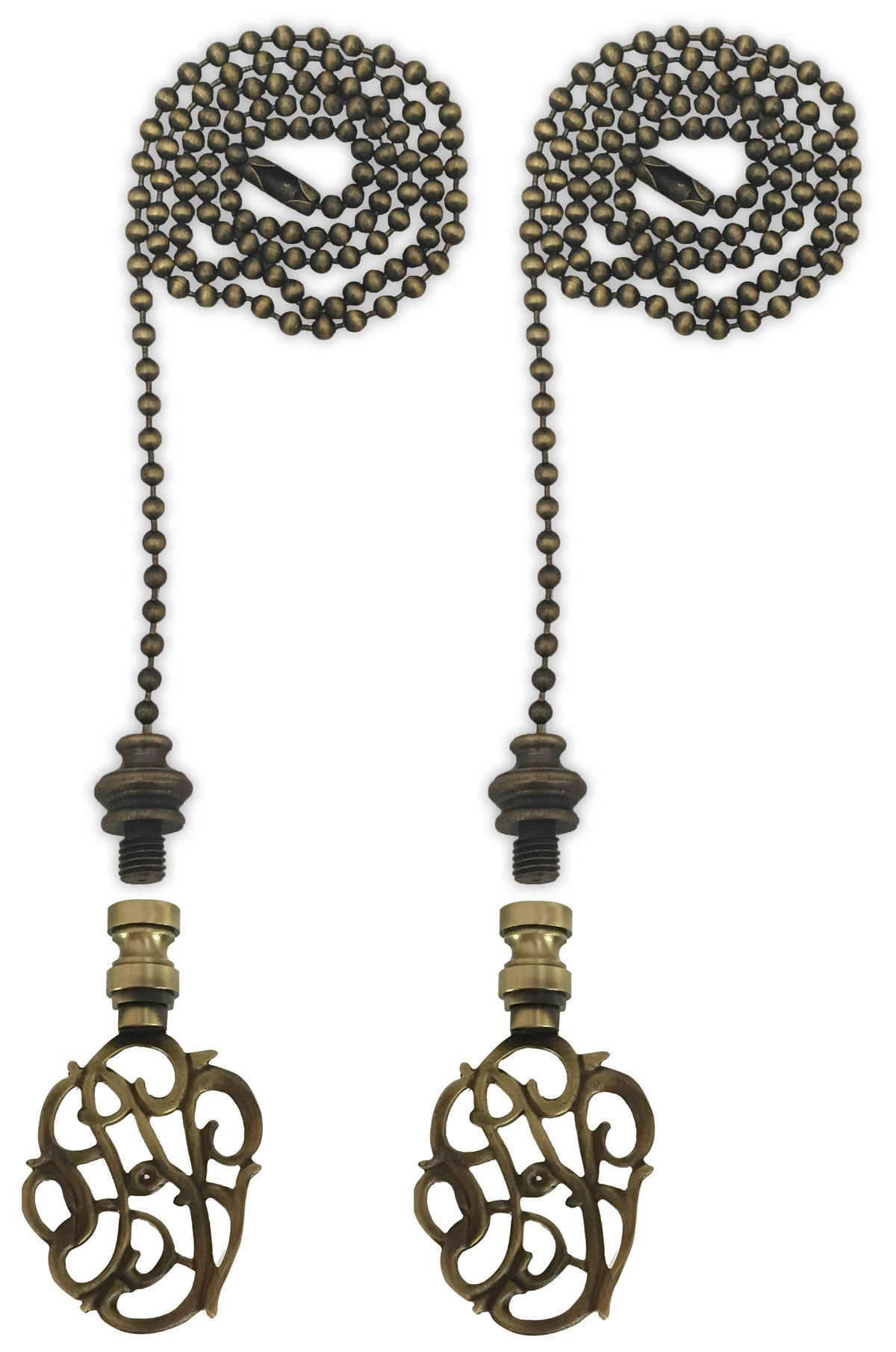 Royal Designs Fan Pull Chain with Hand Carved Caste Floral Finial - Antique Brass - Set of 2