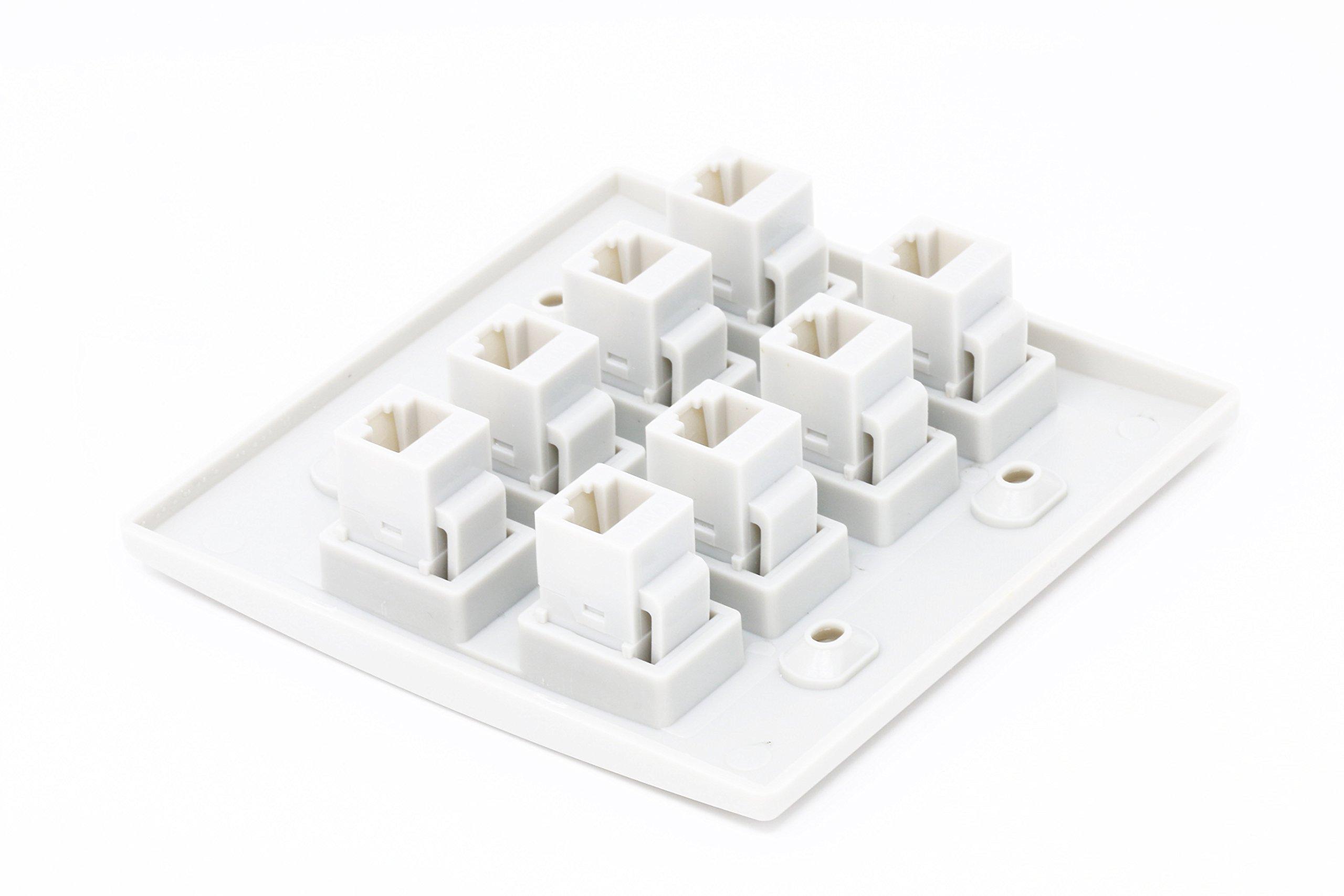 RiteAV 8 Port Flat Dual 2 Gang Ethernet Cat6 RJ45 Network Wall Plate - White