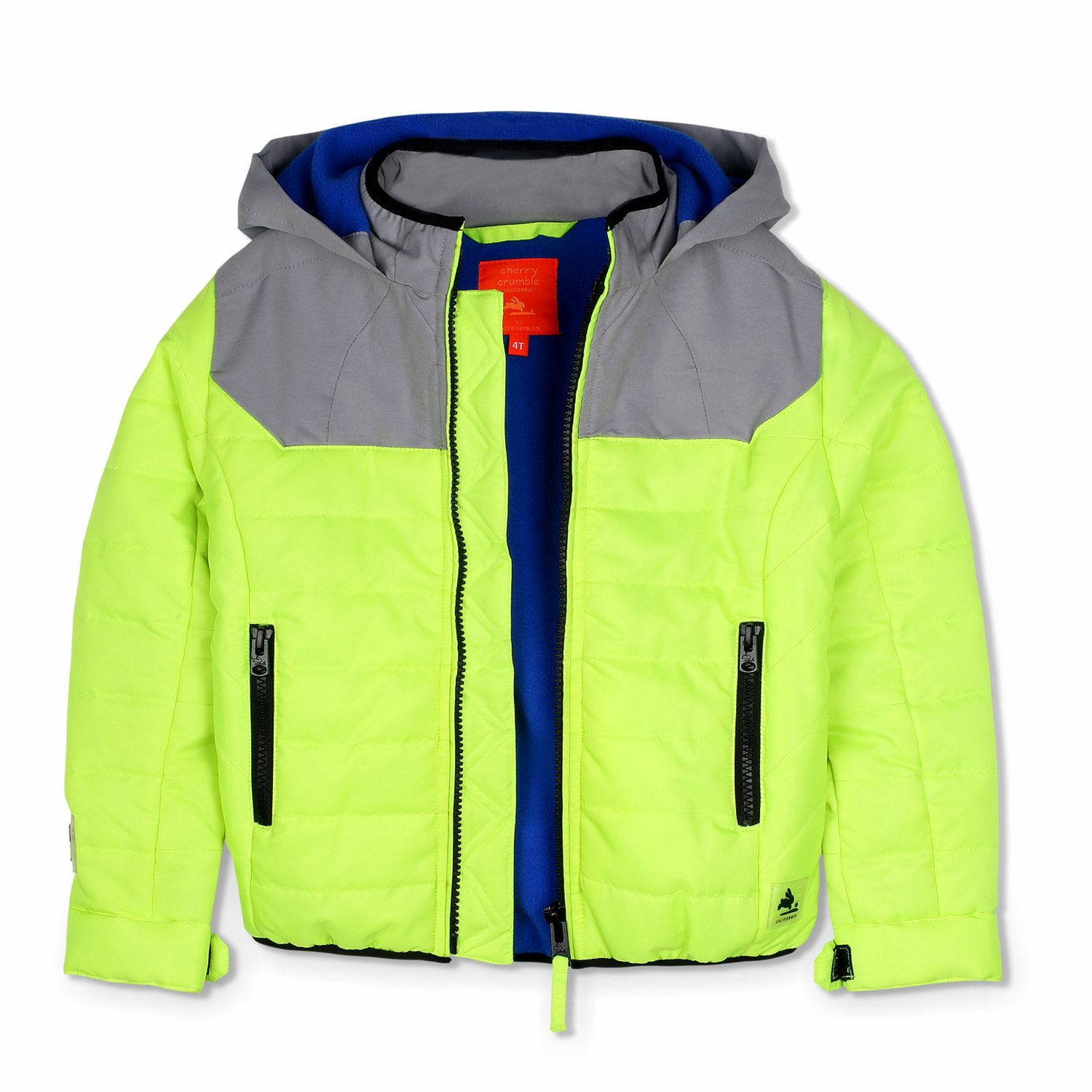 Cherry Crumble California Kids Boys Solid Polyester Regular Fit Winter Jacket Lemon Grey