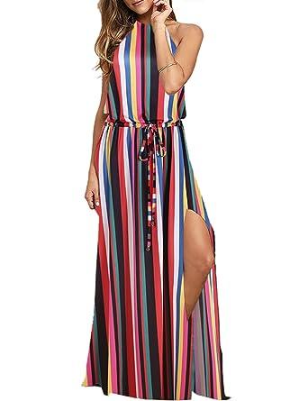 a39550bbd3 Blooming Jelly Women's Halter Backless Tie Back Drawstring Waist Tie Dye  Split Summer Maxi Dress (
