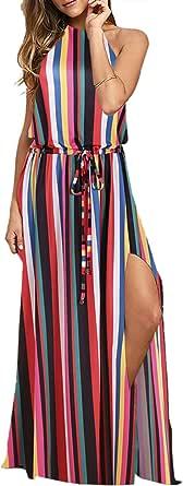 BMJL Vestido de mujer ajustable sin espalda al cuello, maxivestido con tinte, sin mangas, maxi playa, bohemio, cóctel, fiesta, verano, para el sol.