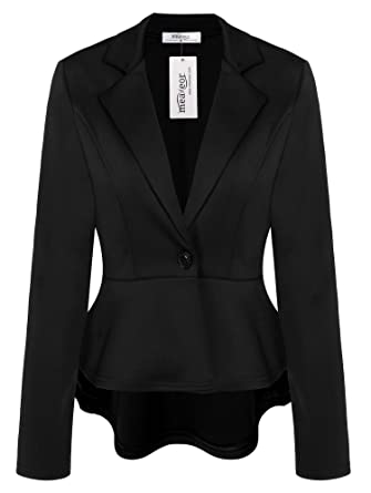 717ad2ebf9a Meaneor Women s Crop Frill Shift Slim Fit Wear to Work Peplum Blazer Jacket  Coat at Amazon Women s Clothing store