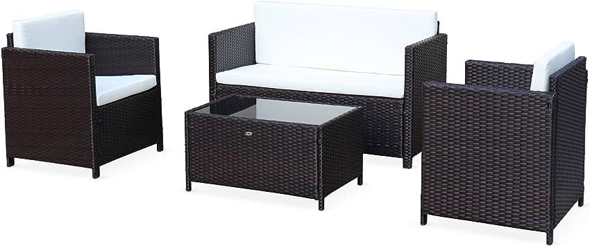 Salon de Jardin en résine tressée Chocolat - Perugia - Coussins écrus - 4  Places - 1 canapé, 2 fauteuils, Une Table Basse