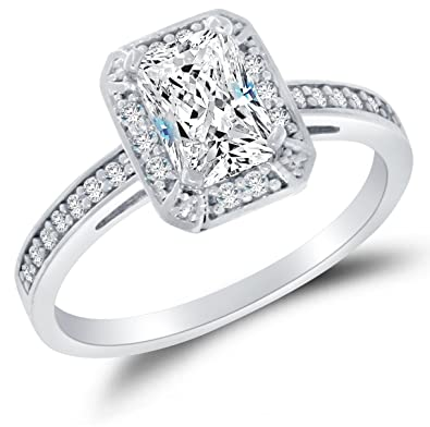 Size 4 - Solid 14k White Gold Highest Quality CZ Cubic Zirconia Halo Engagement  Ring -