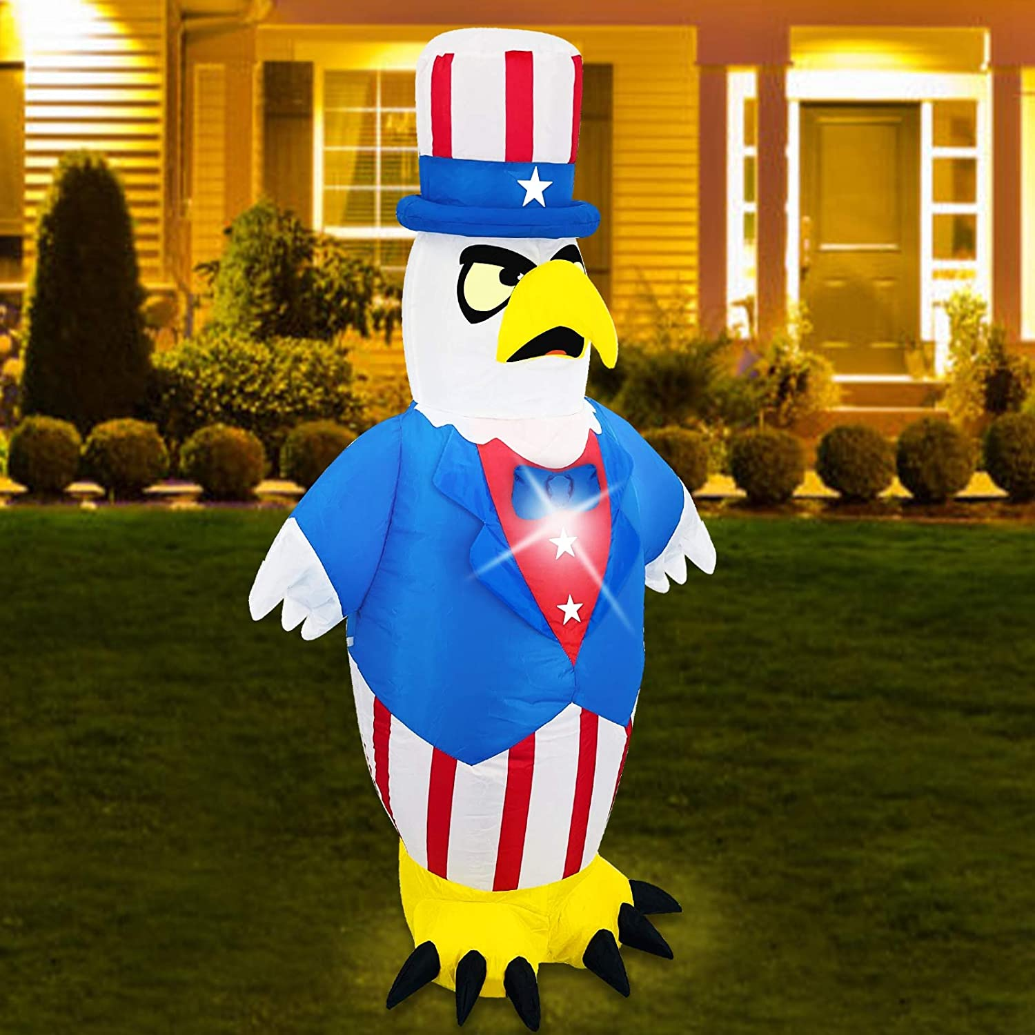 TURNMEON 3.5 Foot 4th of July Inflatables Outdoor Decoration Blow up Eagle Uncle Sam with Led Light Tether Stake Independence Day Memorial Day Patriotic Decoration Yard Lawn Garden Home,Red White Blue