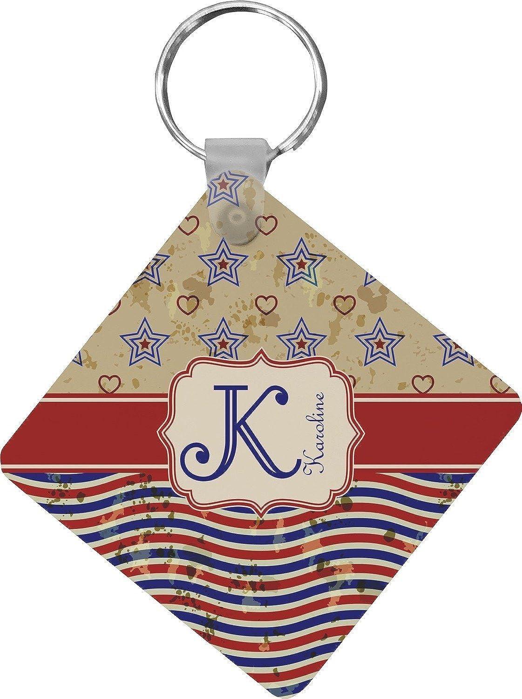 Vintage Stars & Stripes Diamond Key Chain (Personalized)