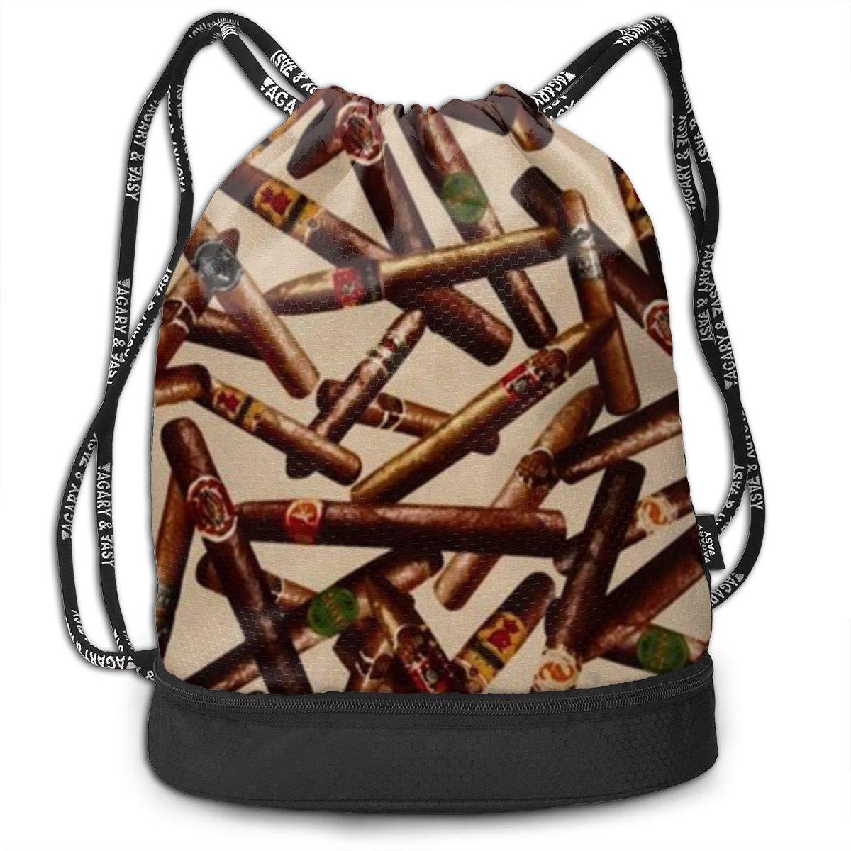 Lightweight Waterproof Large Storage Drawstring Bag For Men /& Women Cigars Pattern Cinch Backpack Sackpack Tote Sack
