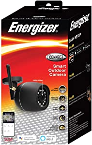 Energizer Connect Smart 1080p HD Certified Weatherproof Outdoor Camera with Remote Access, Motion Alerts, 2 Way Audio and Night Vision | Compatible with Alexa and Google Assistant