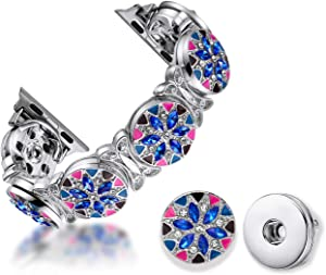 TILON Handmade 2 in 1 DIY Apple Watch Band Compatible for Apple Watch 38/40mm Series 5 4 3 2 1, Jewelry Interchangeable Classy Charms Rhinestone Bracelet Ladies/Girls -Sparkling Snowflake